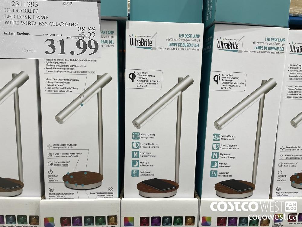2311393 ULTRABRITE LED DESK LAMP WITH WIRELESS CHARGING EXPIRY DATE: 2021-03-14 $31.99