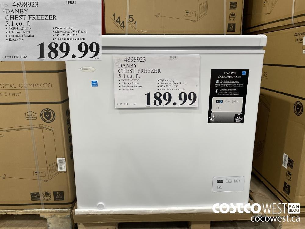 4898923 DANBY CHEST FREEZER -CU 5.1 cu. ft. $189.99