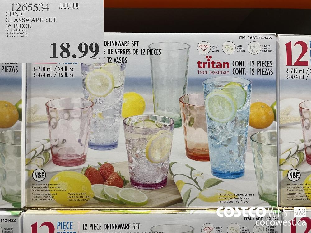 1265534 CONIC GLASSWARE SET 16 PIECE $18.99
