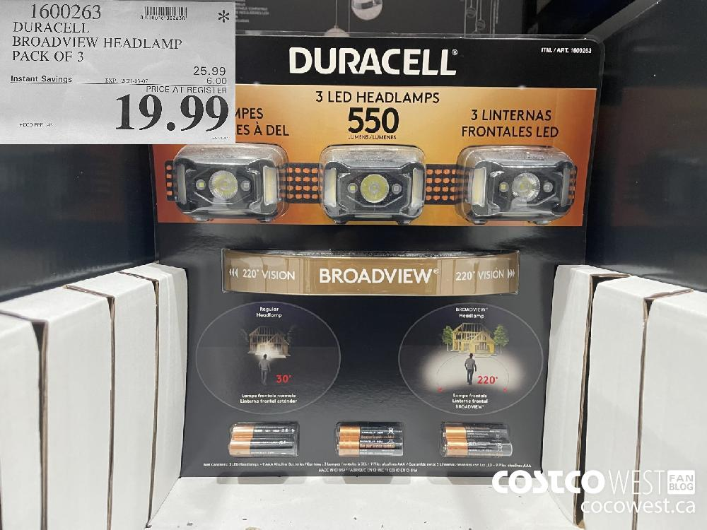 1600263 DURACELL BROADVIEW HEADLAMP PACK OF 3 EXPIRY DATE: 2021-03-07 $19.99