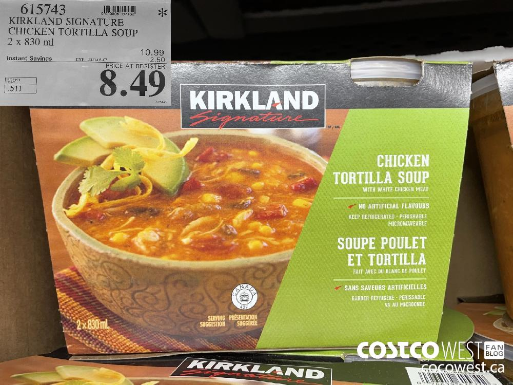 615743 KIRKLAND SIGNATURE CHICKEN TORTILLA SOUP 2 x 830 ml EXPIRY DATE: 2021-03-07 $8.49