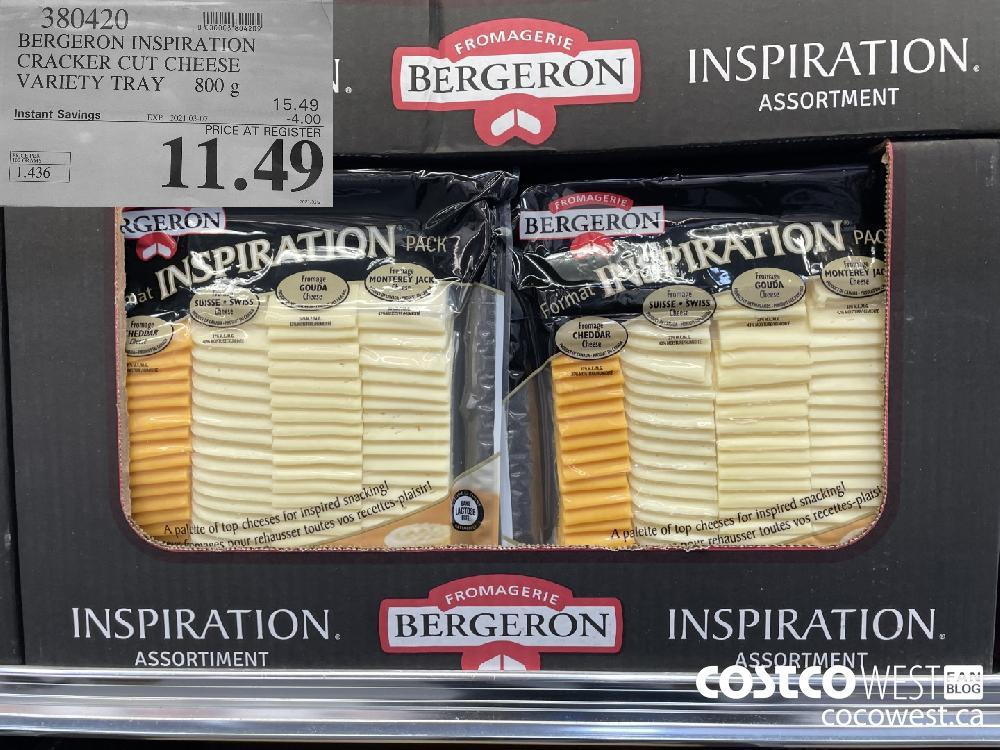 380420 a HAE BERGERON INSPIRATION CRACKER CUT CHEESE VARIETY TRAY 8008 15.49 Instant Savings EXPIRY DATE: 2021-03-07 -4.00 PRICE AT REGISTER 11.49