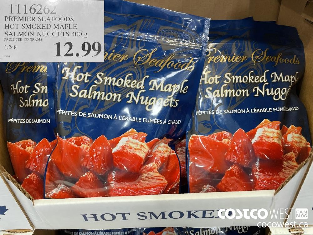 1116202 PREMIER SEAFOODS HOT SMOKED MAPLE SALMON NUGGETS 400 g $12.99