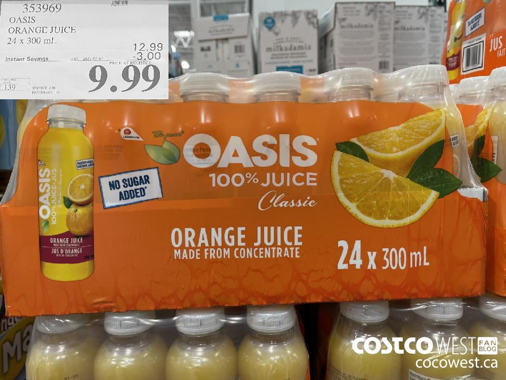 353969 OASIS ORANGE JUICE 24 x 300 mL EXPIRY DATE: 2021-03-14 $9.99