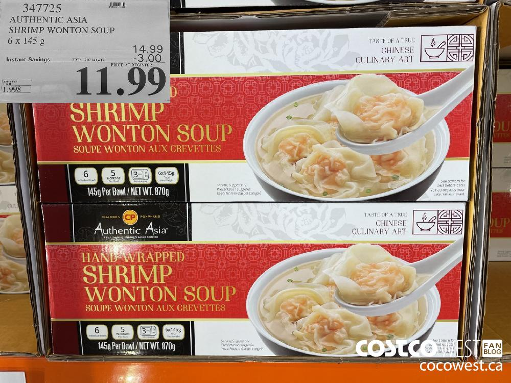 347725 AUTHENTIC ASIA SHRIMP WONTON SOUP 6x 145 g EXPIRY DATE: 2021-03-14 $11.99