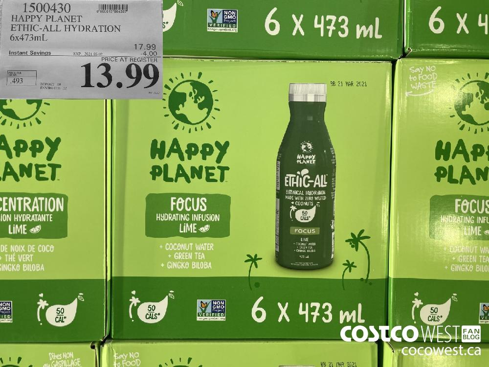 1500430 HAPPY PLANET ETHIC-ALL HYDRATION 6 x 473mL EXPIRY DATE: 2021-03-07 $13.99