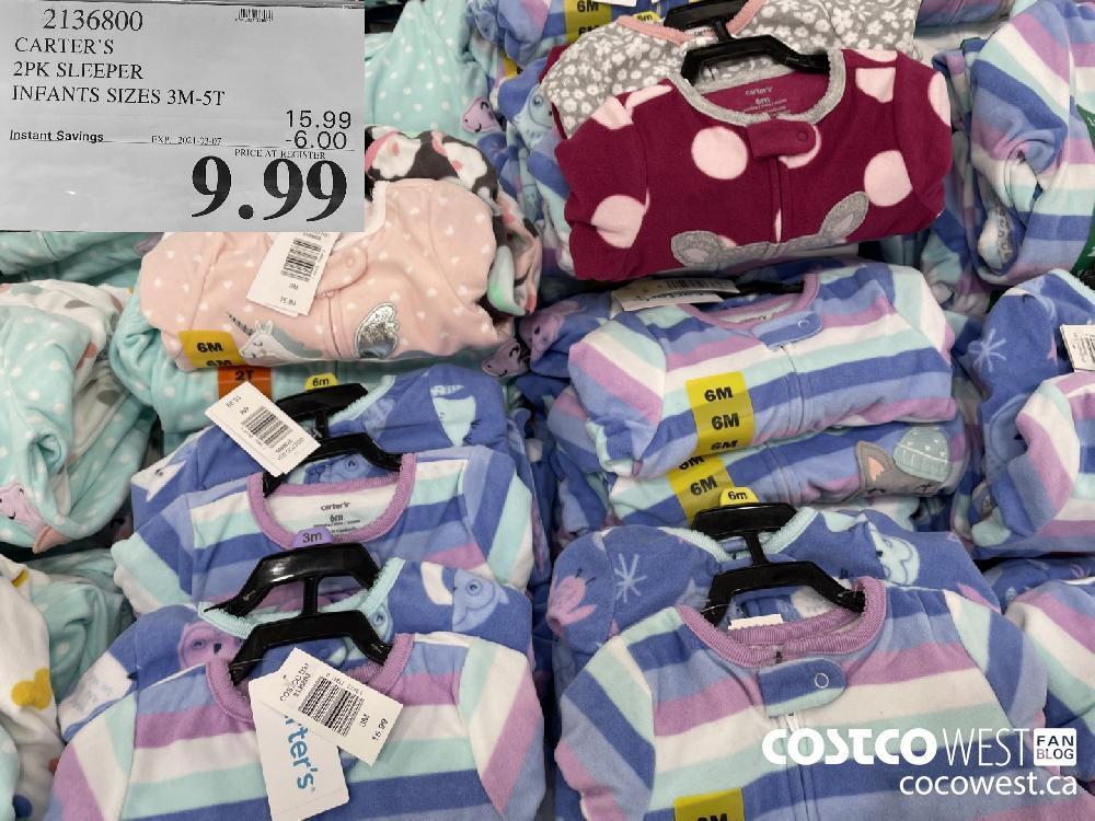 2136800 CARTER'S 2PK SLEEPER INFANTS SIZES 3M-5T EXPIRY DATE: 2021-03-07 $9.99