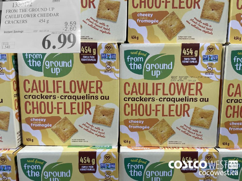 1330472 FROM THE GROUND UP CAULIFLOWER CHEDDAR CRACKERS 454 g EXPIRY DATE: 2021-03-14 $6.99