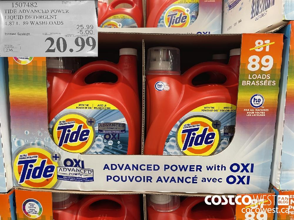 1507482 TIDE ADVANCED POWER LIQUID DETERGENT 4.87 L 89 WASHLOADS EXPIRY DATE: 2021-03-14 $20.99