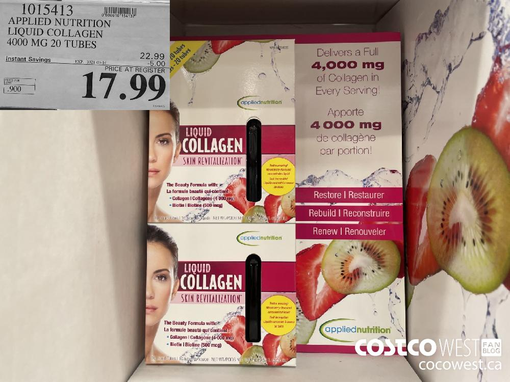1015413 APPLIED NUTRITION LIQUID COLLAGEN 4000 MG 20 TUBES EXPIRY DATE: 2021-03-14 $17.99
