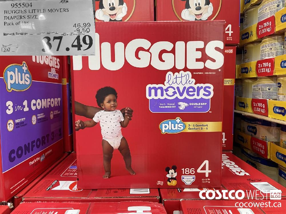 955504 HUGGIES LITTLE MOVERS DIAPERS SIZE 5 PACK OF 186 EXPIRY DATE: 2021-03-14 $37.49