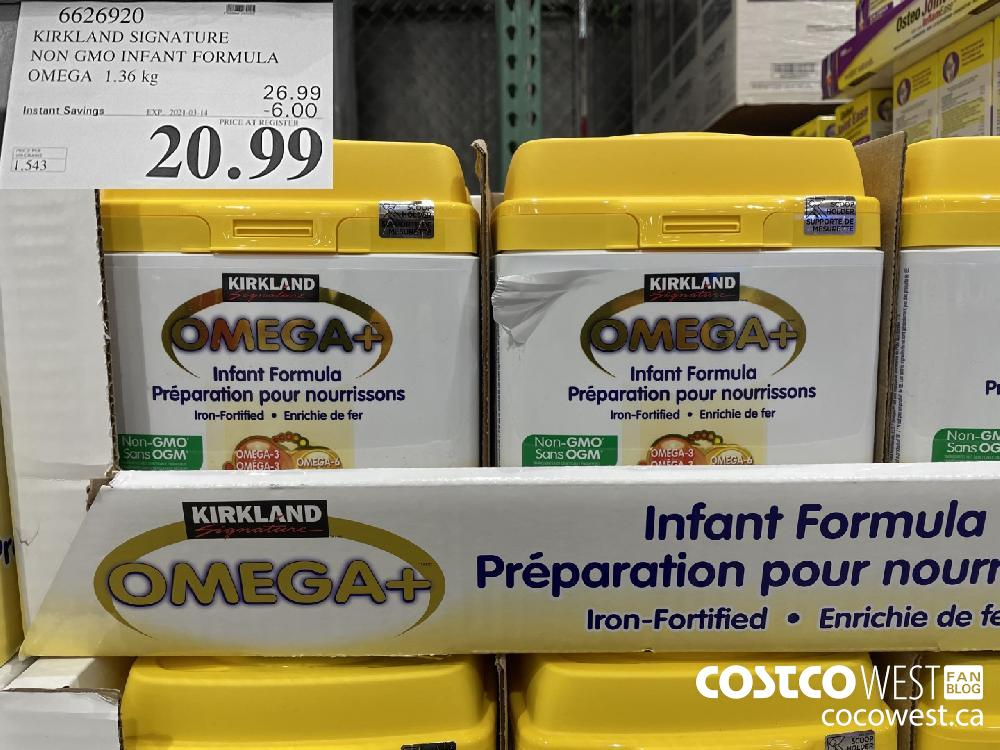 66269201 KIRKLAND SIGNATURE NON GMO INFANT FORMULA OMEGA 1.36 kg EXPIRY DATE: 2021-03-14 $20.99