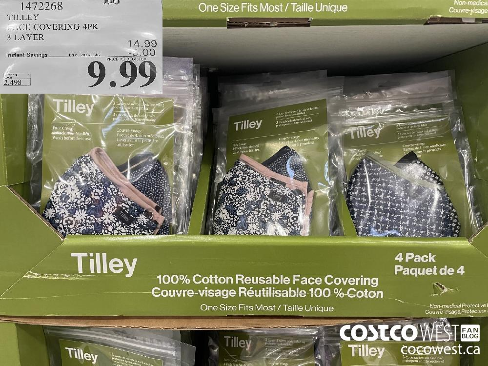 1472268 TILLEY FACE COVERING 4PK 3 LAYER EXPIRY DATE: 2021-03-07 $9.99