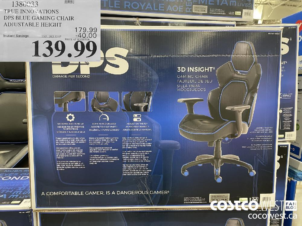 1380033 TRUE INNOVATIONS DPS BLUE GAMING CHAIR ADJUSTABLE HEIGHT EXPIRY DATE: 2021-03-07 $139.99