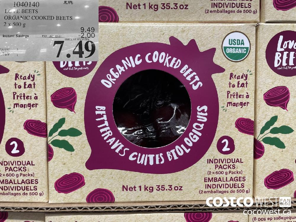 1040140 LOVE BEETS ORGANIC COOKED BEETS 2 x 500 g EXPIRY DATE: 2021-03-14 $7.49