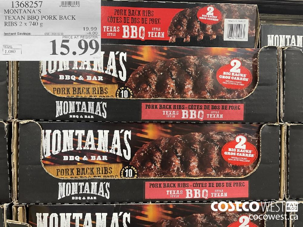 1368257 MONTANA'S TEXAN BBQ PORK BACK RIBS 2 x 740 g EXPIRY DATE: 2021-03-03 $15.99