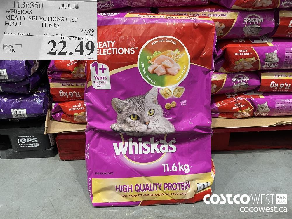 1136350 WHISKAS MEATY SELECTIONS CAT FOOD 11.6 kg EXPIRY DATE: 2021-03-14 $22.49