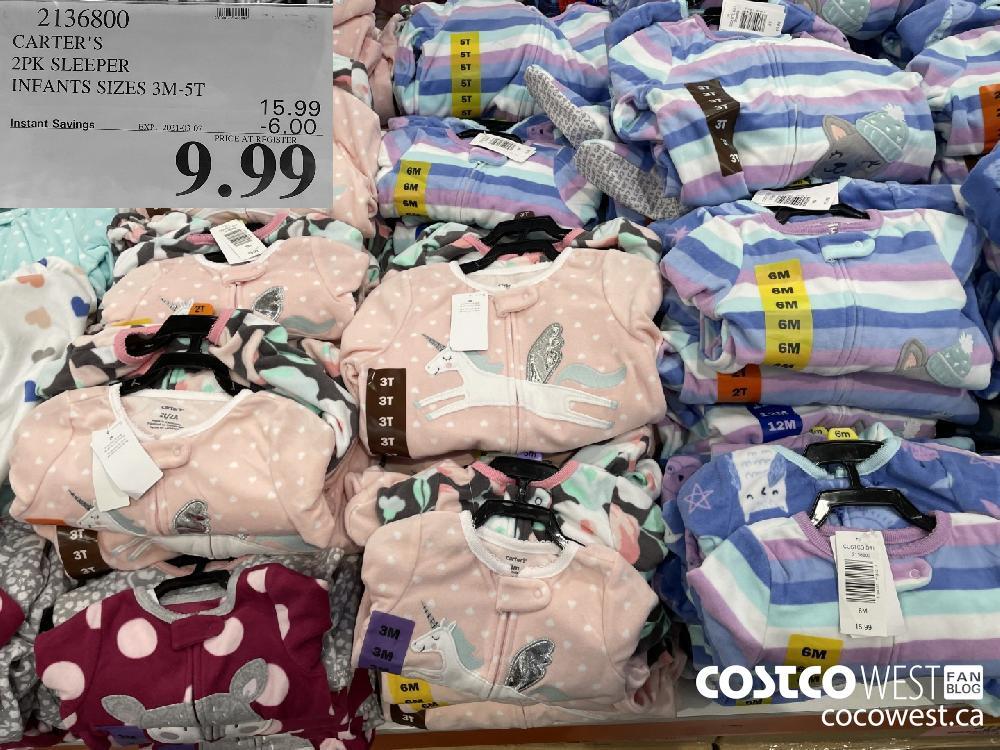 2136800 CARTER'S 2PK SLEEPER INFANTS SIZES 3M-5T EXPIRY DATE: 2021-03-07 $9.99