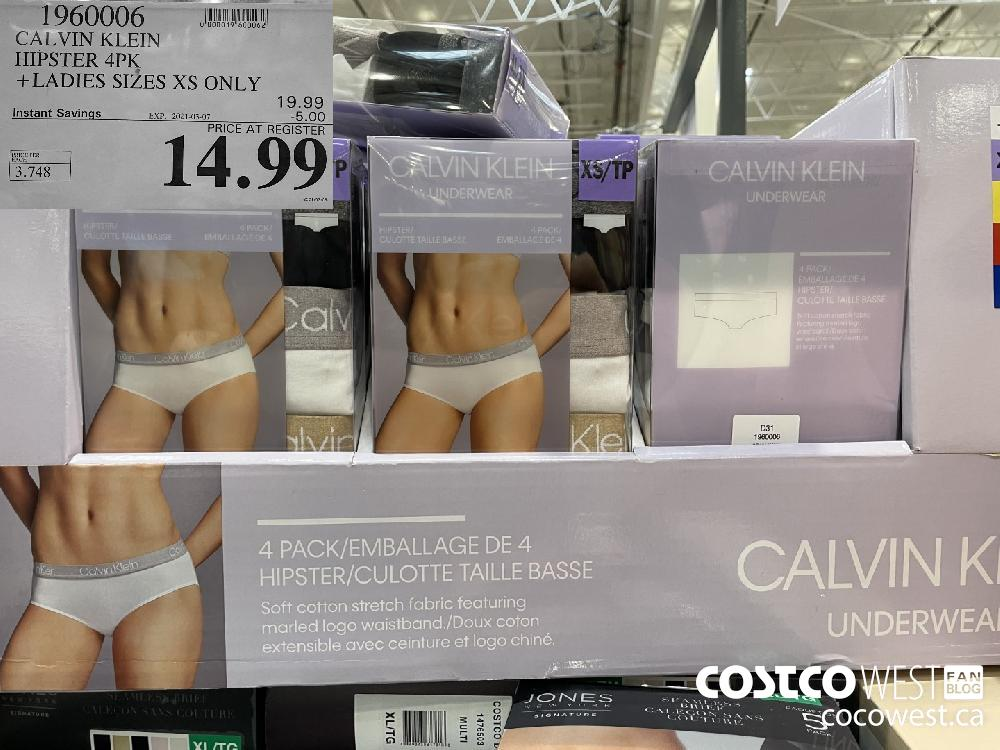 1960006 CALVIN KLEIN HIPSTER 4PK LADIES SIZES XS ONLY EXPIRY DATE: 2021-03-07 $14.99