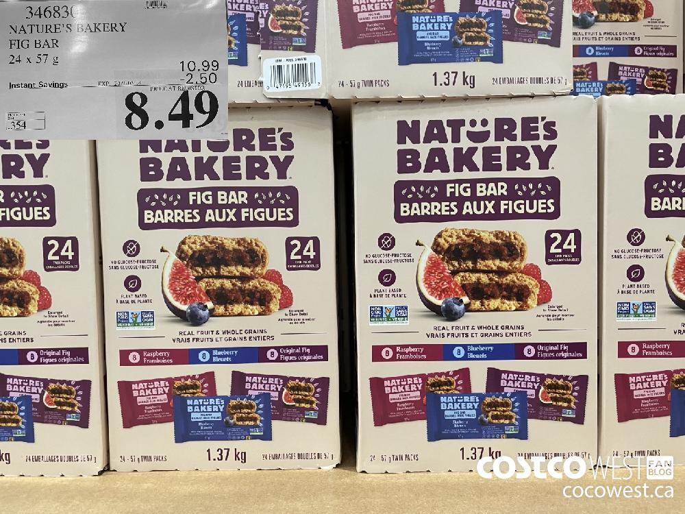 346830 NATURE'S BAKERY FIG BAR 24 x 57 g EXPIRY DATE: 2021-03-14 $8.49