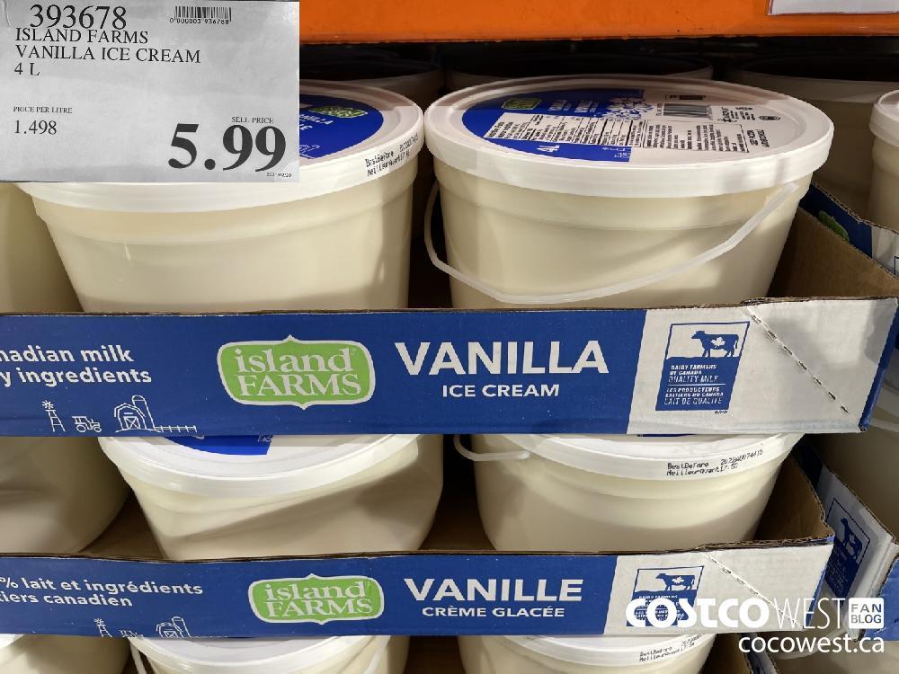 393678 ISLAND FARMS VANILLA ICE CREAM 4L $5.99