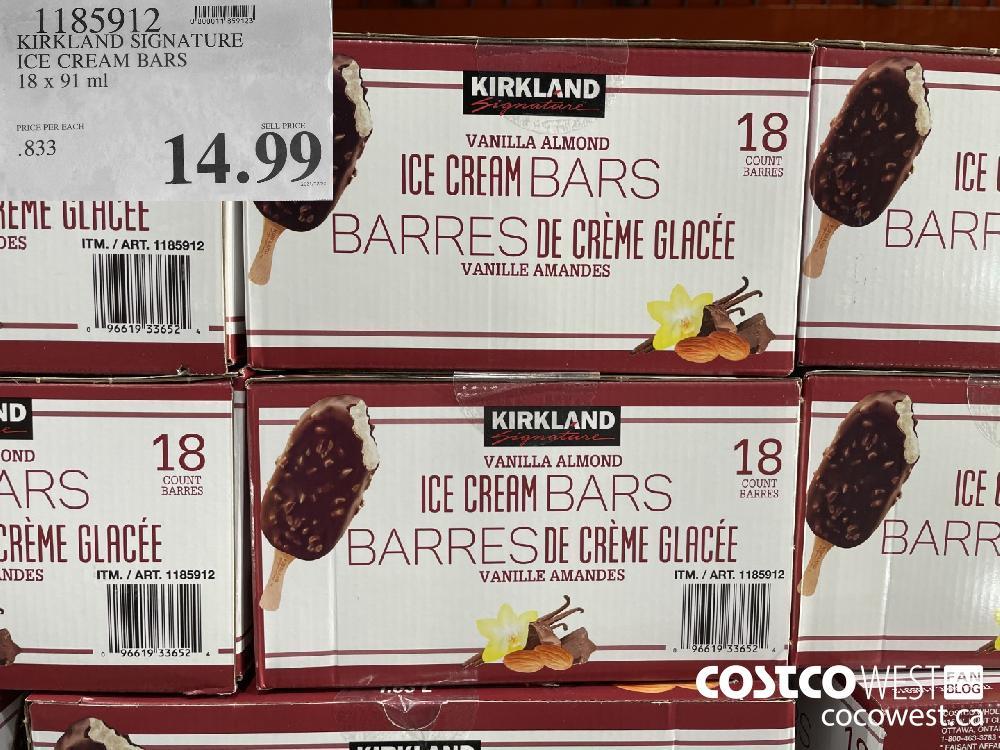 1185912 KIRKLAND SIGNATURE ICE CREAM BARS 18 x 91 ml $14.99