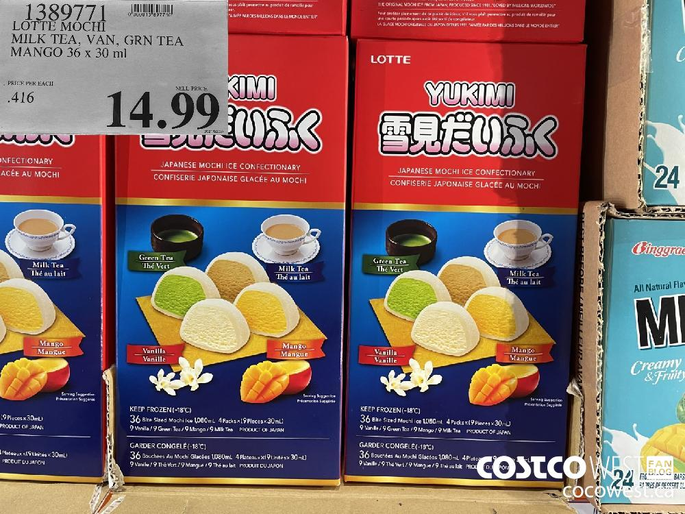 1389771 LOTTE MOCHI MILK TEA VAN GRN TEA MANGO 36 x 30 ml $14.99