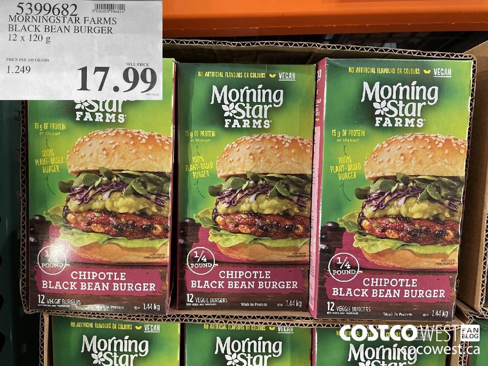 5399682 MORNINGSTAR FARMS BLACK BEAN BURGER 12 x 120g $17.99