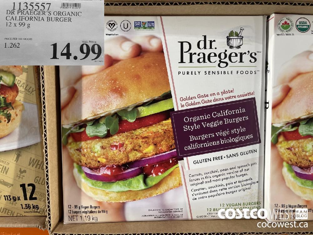 1135557 DR PRAEGER'S ORGANIC CALIFORNIA BURGER 12 x 99 g $14.99