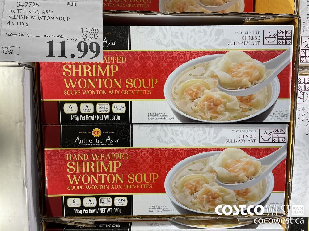 347725 AUTHENTIC ASIA SHRIMP WONTON SOUP 6 x 145 g EXPIRY DATE: 2021-03-14 $11.99