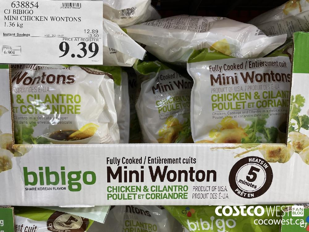 638854 CJ BIBIGO MINI CHICKEN WONTONS 1.36 kg EXPIRY DATE: 2021-03-07 $9.39