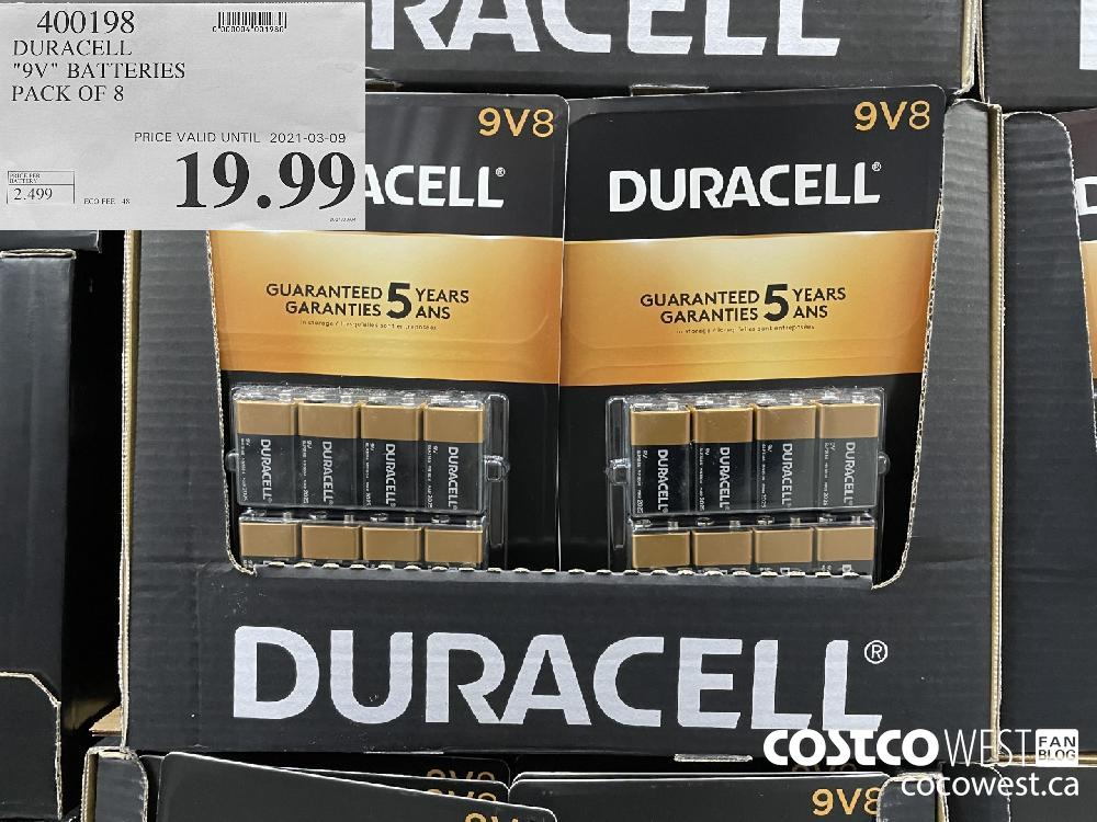 "400198 DURACELL ""9V"" BATTERIES PACK OF 8 PRICE VALID UNTIL 2021-03-09 $19.99"