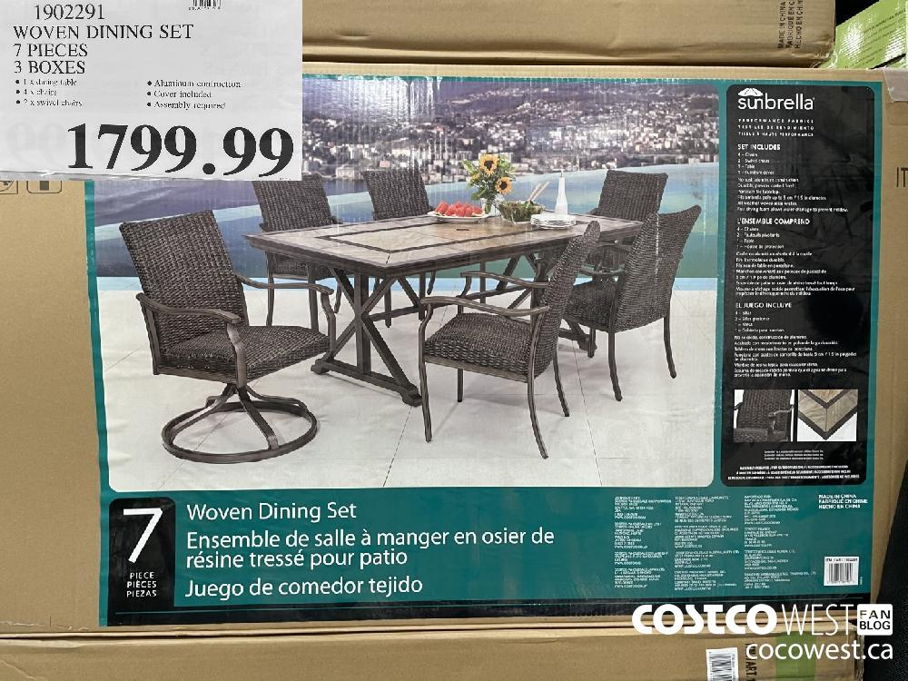 1902291 WOVEN DINING SET 7 PIECES 3 BOXES $1799.99