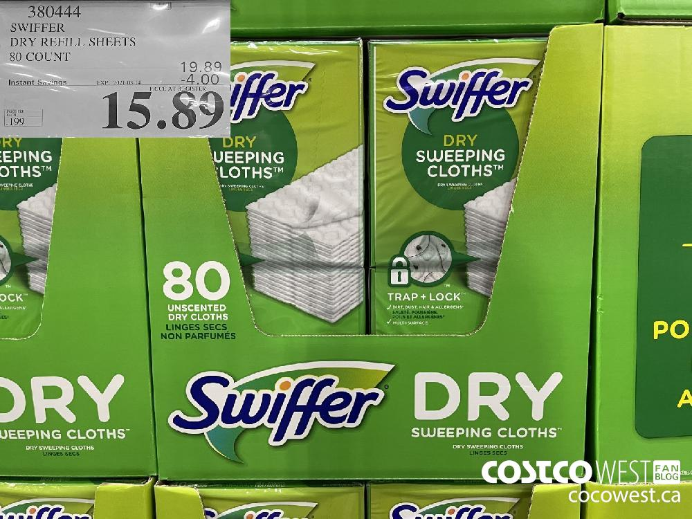 380444 SWIFFER DRY REFILL SHEETS 80 COUNT EXPIRY DATE: 2021-03-14 $15.89