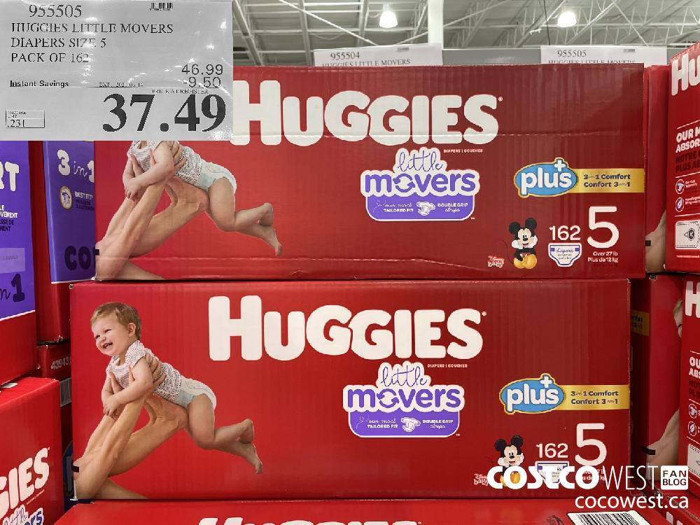 955505 HUGGIES LITTLE MOVERS DIAPERS SIZE 5 PACK OF 162 EXPIRY DATE: 2021-03-14 $37.49