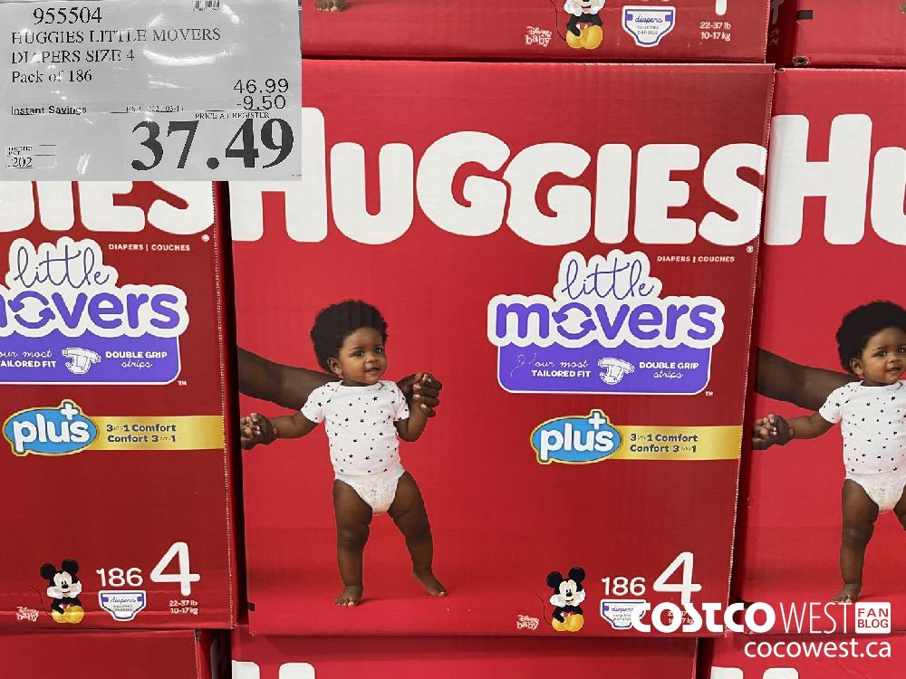 955504 HUGGIES LITi LE MOVERS DIAPERS SIZE 4 Pack of 186 EXPIRY DATE: 2021-03-14 $37.49