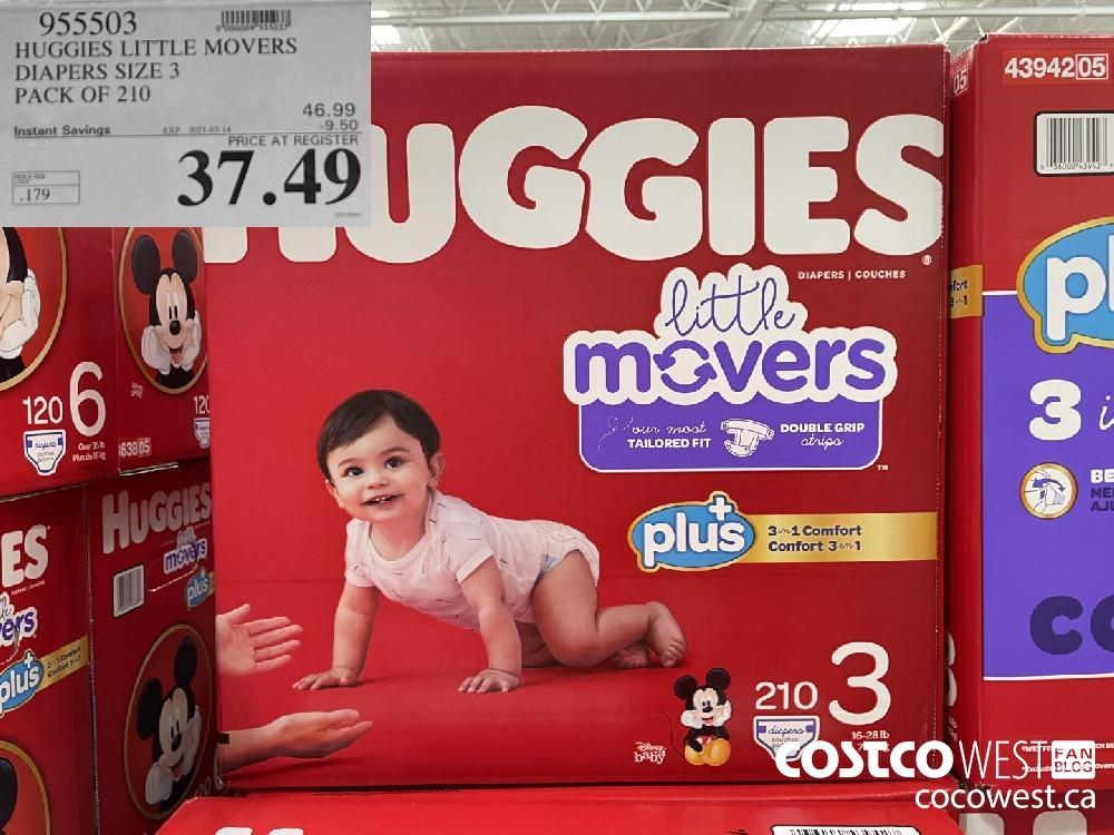 955503 HUGGIES LITTLE MOVERS DIAPERS SIZE 3 PACK OF 210 EXPIRY DATE: 2021-03-14 $37.49