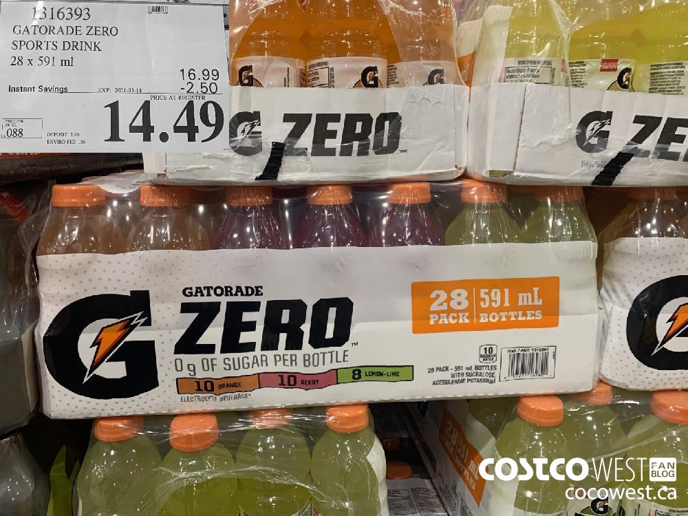 1316393 GATORADE ZERO SPORTS DRINK 28 x 591 ml EXPIRY DATE: 2021-03-14 $14.49