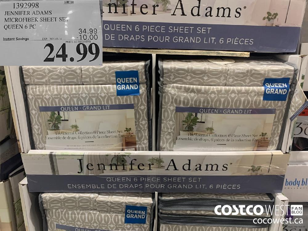 1392998 JENNIFER ADAMS MICROFIBER SHEET SET QUEEN 6 PC EXPIRY DATE: 2021-03-14 $24.99