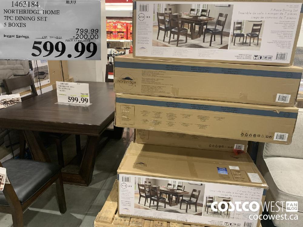 1462184 NORTHRIDGE HOME 7PC DINING SET 5 BOXES EXPIRY DATE: 2021-03-14 $599.99