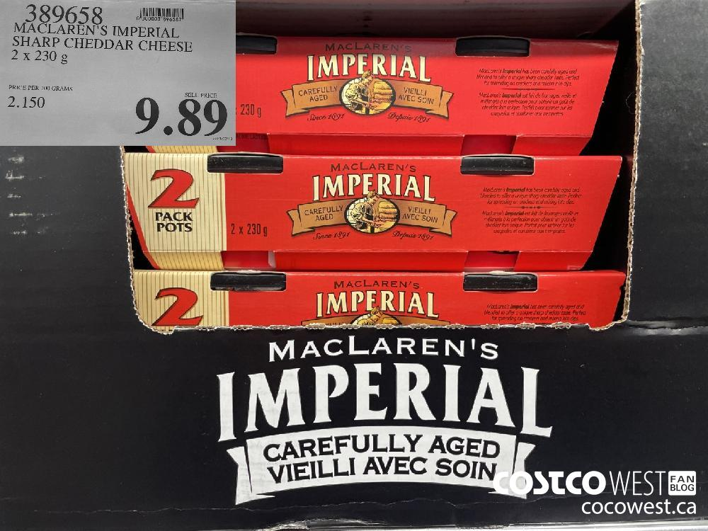 389658 MACLAREN'S IMPERIAL SHARP CHEDDAR CHEESE 2 x 230g $9.89