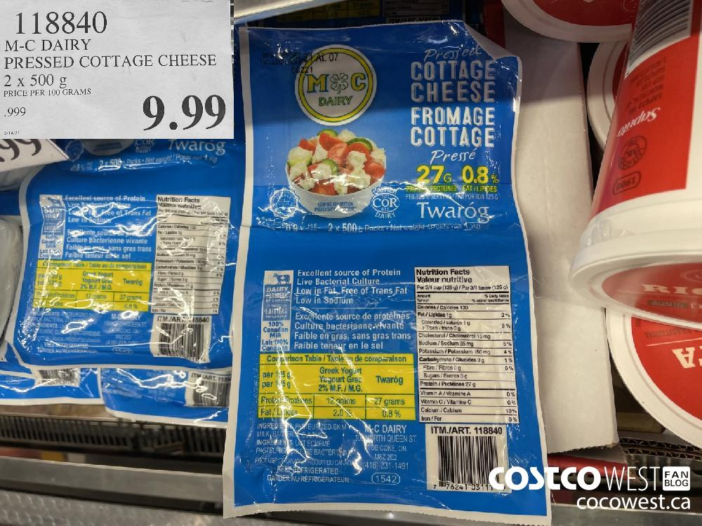 118840 M-C DAIRY PRESSED COTTAGE CHEESE 2 x 500 g $9.99