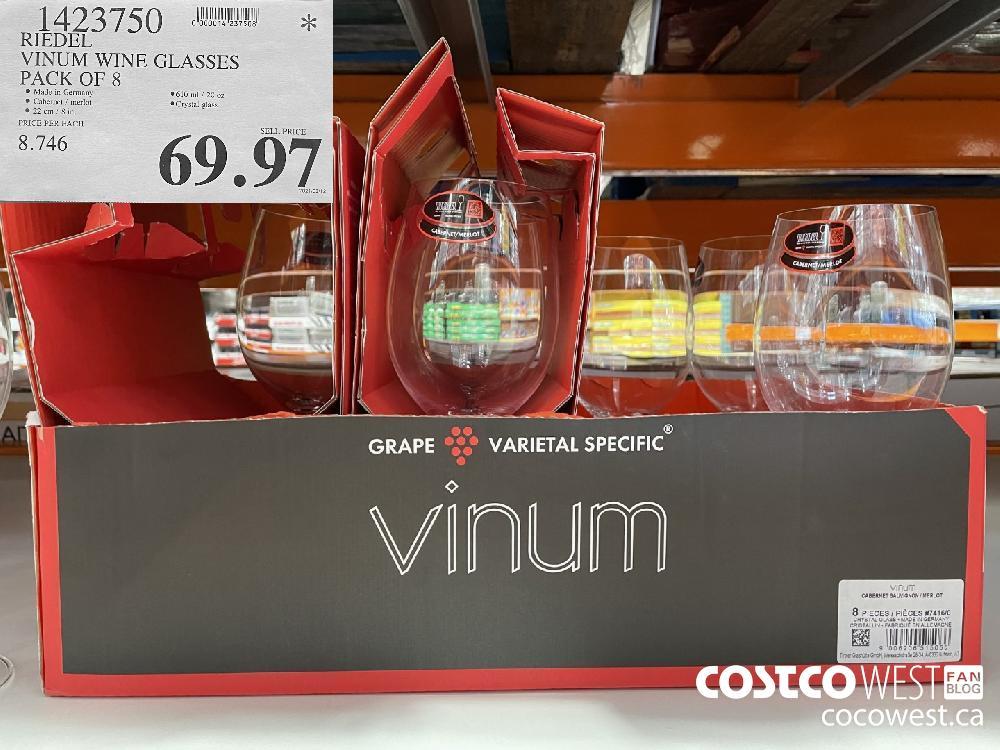 1423750 RIEDEL VINUM WINE GLASSES PACK OF 8 $69.97