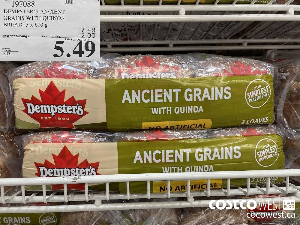 197088 DEMPSTER'S ANCIENT GRAINS WITH QUINOA BREAD 3 x 600 g EXPIRY DATE: 2021-03-21 $5.49