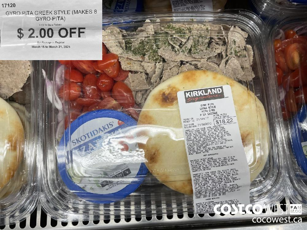 17120 GYRO PITA GREEK STYLE (MAKES 8 GYRO-PITA) Less In-Store Rebate $ 2.00 OFF Per Package at Register March 15 to March 21 2021