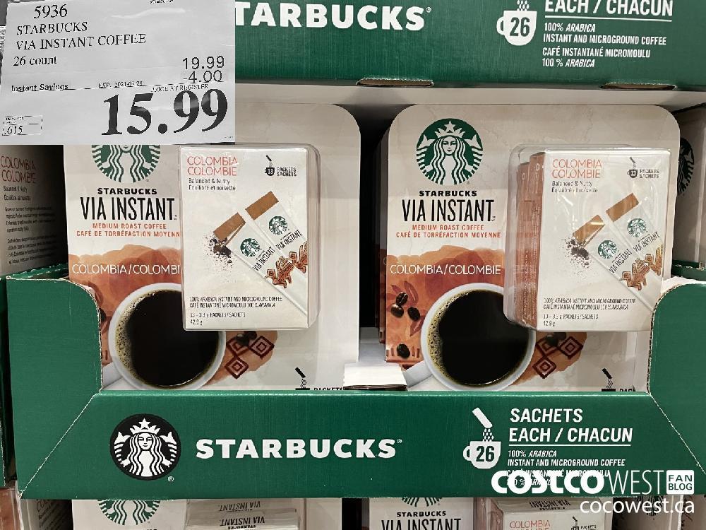 5936 STARBUCKS VIA INSTANT COFFEE 26 count EXPIRY DATE: 2021-03-28 $15.99