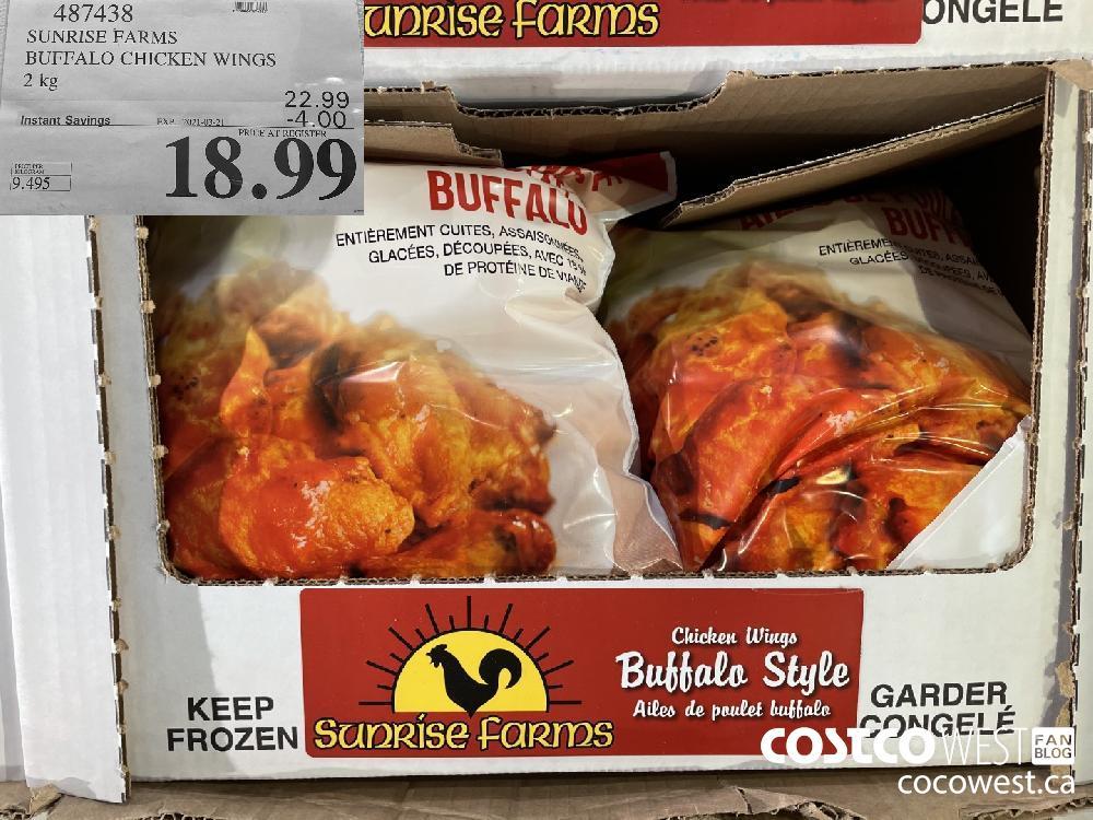 487438 SUNRISE FARMS BUFFALO CHICKEN WINGS 2 kg EXPIRY DATE: 2021-03-21 $18.99