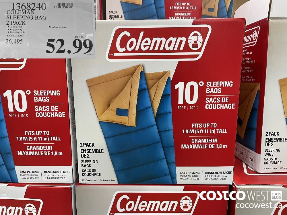 13682490 COLEMAN SLEEPING BAG 2 PACK $52.99