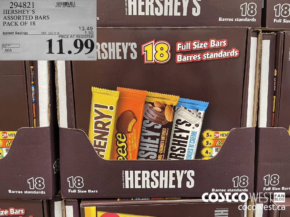 294821 HERSHEY'S ASSORTED BARS PACK OF 18 EXPIRY DATE: 2021-03-28 $11.99