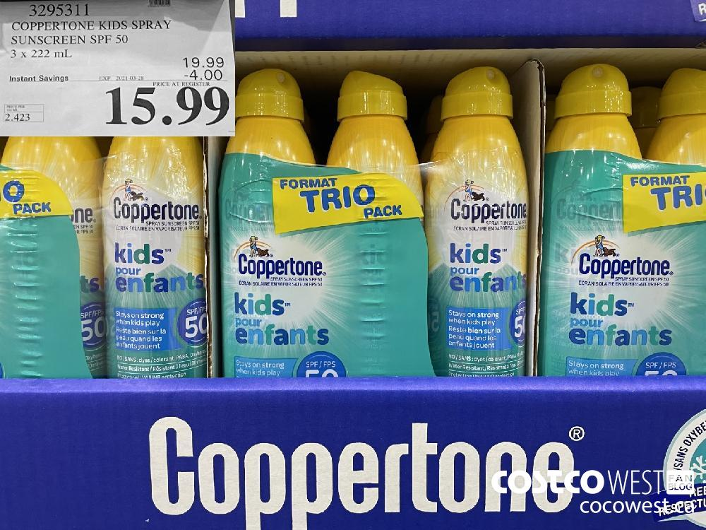 3295311 COPPERTONE KIDS SPRAY SUNSCREEN SPF 50 3 x 222 mL EXPIRY DATE: 2021-03-28 $15.99